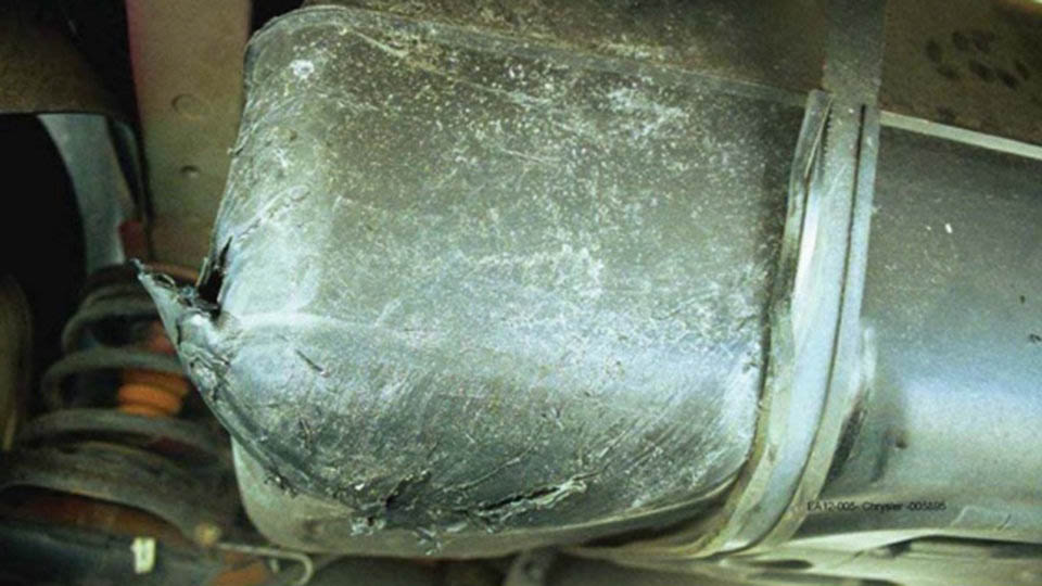 Punctured Jeep Liberty fuel tank