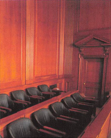 Jury Seats in a stately courtroom